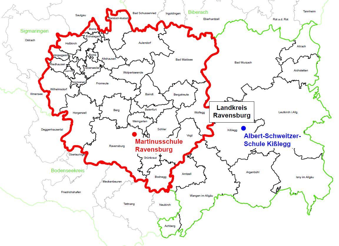 Übersicht Sprengelbezirk MS Ravensburg